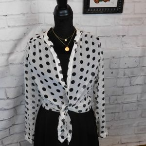 Black and White Polka Dot Sheer Top